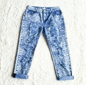 Sneakpeek Relaxed Fit Acid Wash Distressed Jeans